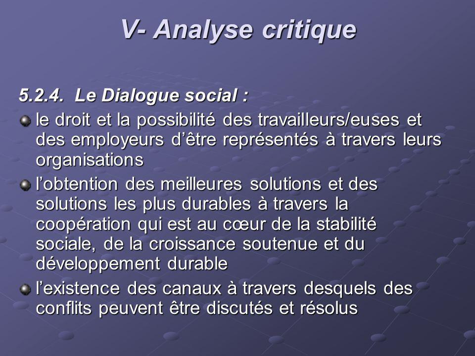 V- Analyse critique 5.2.4. Le Dialogue social : le droit et la possibilité des travailleurs/euses et des employeurs dêtre représentés à travers leurs