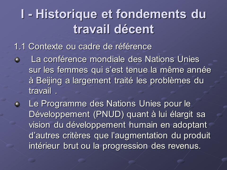 I - Historique et fondements du travail décent 1.1 Contexte ou cadre de référence La conférence mondiale des Nations Unies sur les femmes qui sest ten