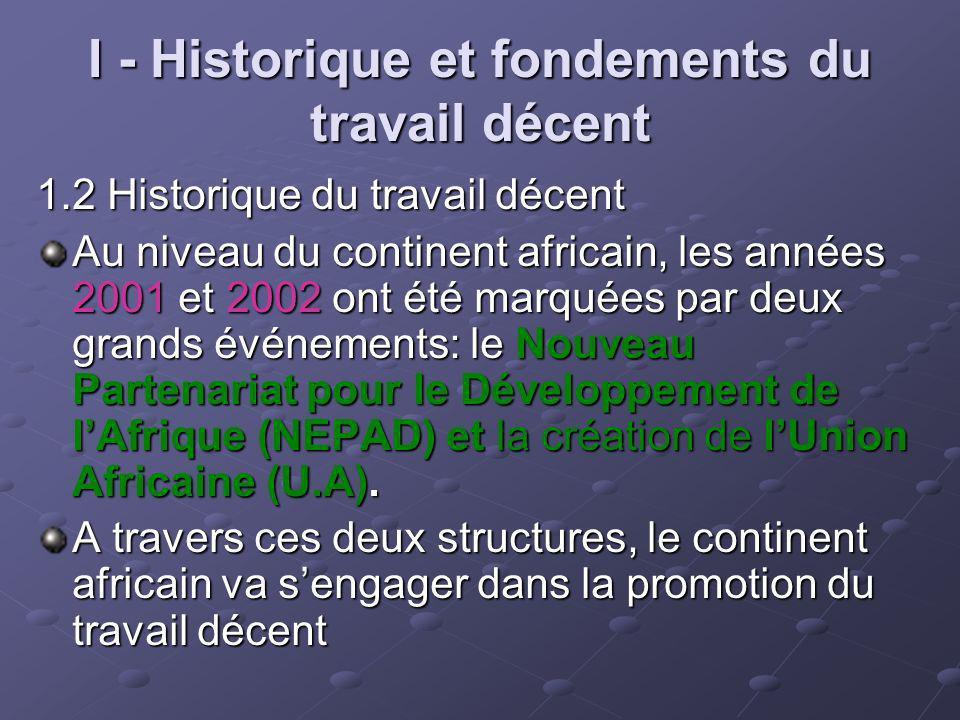 I - Historique et fondements du travail décent 1.2 Historique du travail décent Au niveau du continent africain, les années 2001 et 2002 ont été marqu
