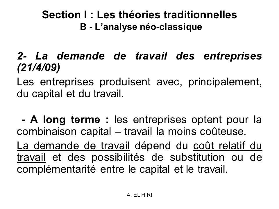 A. EL HIRI Section I : Les théories traditionnelles B - Lanalyse néo-classique 2- La demande de travail des entreprises (21/4/09) Les entreprises prod