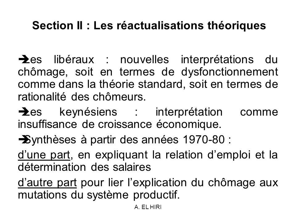 A. EL HIRI Section II : Les réactualisations théoriques Les libéraux : nouvelles interprétations du chômage, soit en termes de dysfonctionnement comme