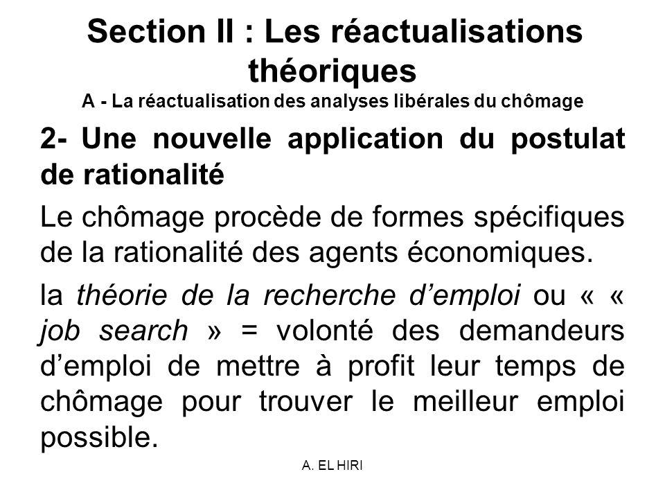A. EL HIRI Section II : Les réactualisations théoriques A - La réactualisation des analyses libérales du chômage 2- Une nouvelle application du postul