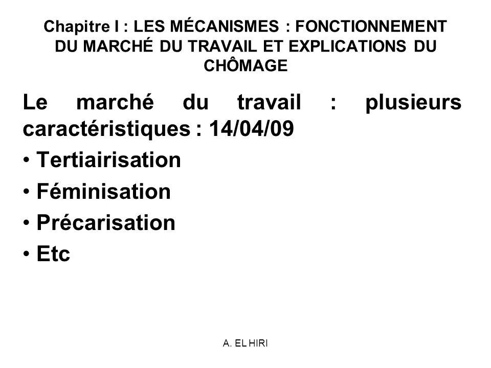 A. EL HIRI Chapitre I : LES MÉCANISMES : FONCTIONNEMENT DU MARCHÉ DU TRAVAIL ET EXPLICATIONS DU CHÔMAGE Le marché du travail : plusieurs caractéristiq