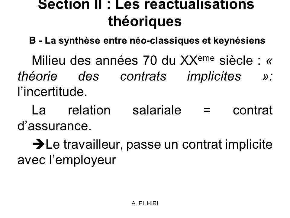 A. EL HIRI Section II : Les réactualisations théoriques B - La synthèse entre néo-classiques et keynésiens Milieu des années 70 du XX ème siècle : « t