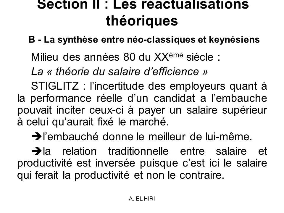 A. EL HIRI Section II : Les réactualisations théoriques B - La synthèse entre néo-classiques et keynésiens Milieu des années 80 du XX ème siècle : La