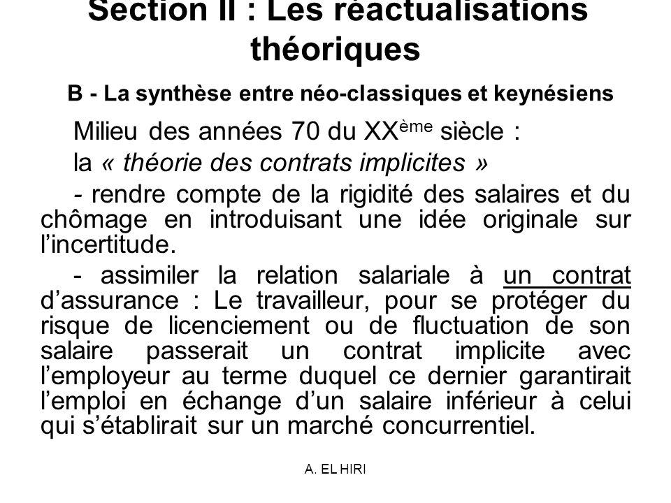 A. EL HIRI Section II : Les réactualisations théoriques B - La synthèse entre néo-classiques et keynésiens Milieu des années 70 du XX ème siècle : la