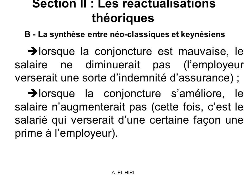 A. EL HIRI Section II : Les réactualisations théoriques B - La synthèse entre néo-classiques et keynésiens lorsque la conjoncture est mauvaise, le sal