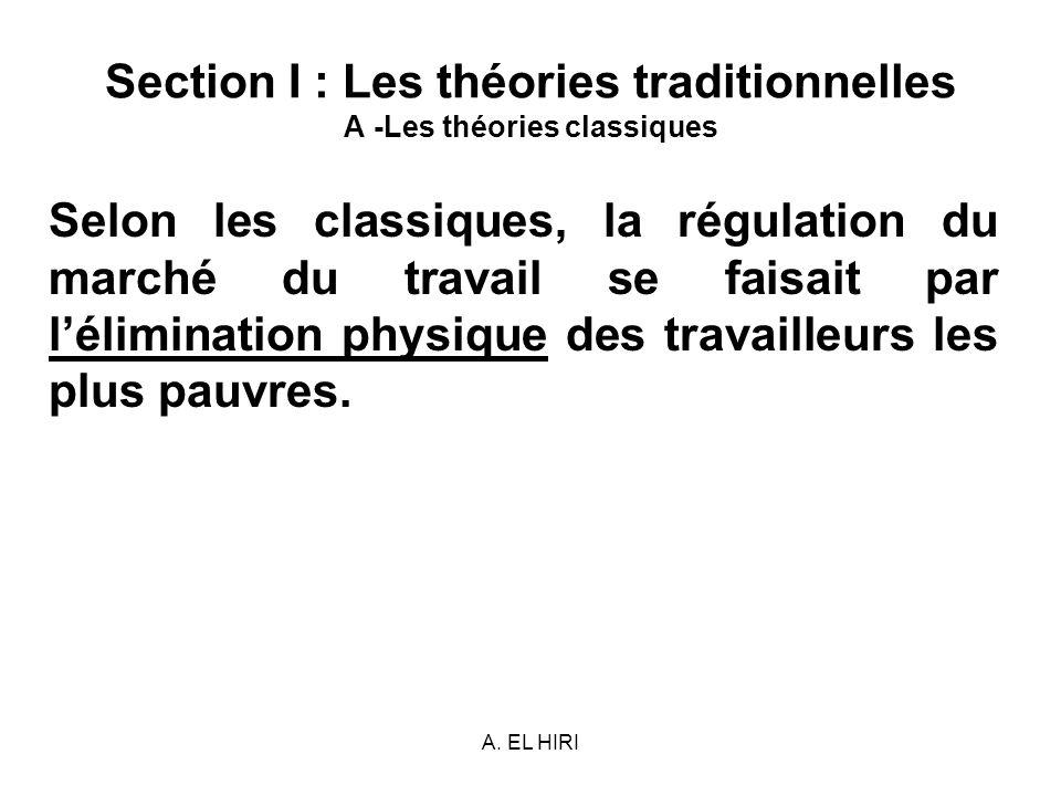 A. EL HIRI Section I : Les théories traditionnelles A -Les théories classiques Selon les classiques, la régulation du marché du travail se faisait par