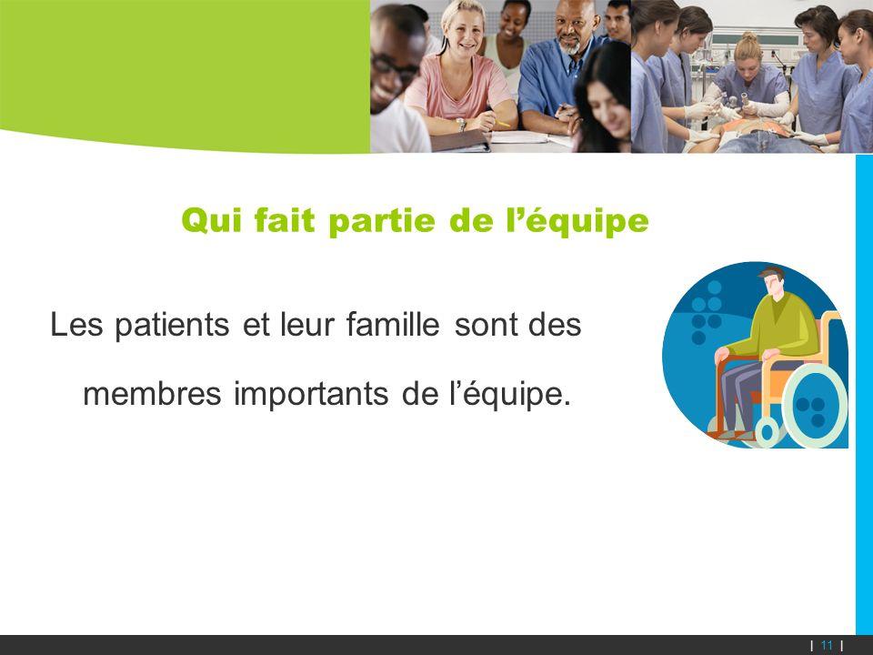 Qui fait partie de léquipe Les patients et leur famille sont des membres importants de léquipe. | 11 |