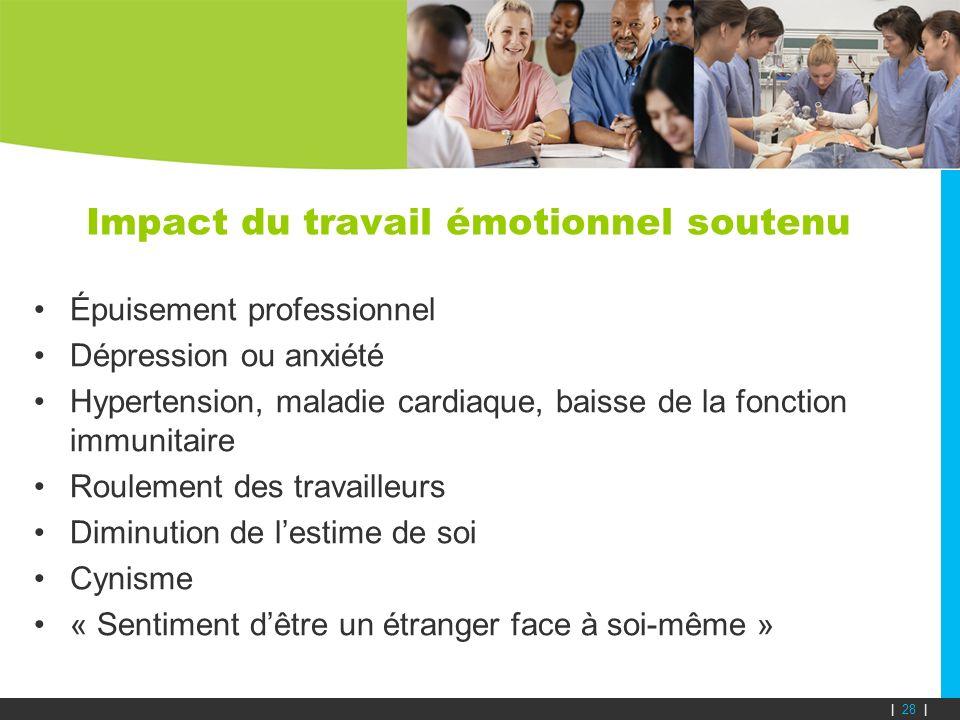 Impact du travail émotionnel soutenu Épuisement professionnel Dépression ou anxiété Hypertension, maladie cardiaque, baisse de la fonction immunitaire