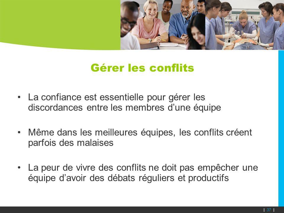 Gérer les conflits La confiance est essentielle pour gérer les discordances entre les membres dune équipe Même dans les meilleures équipes, les confli