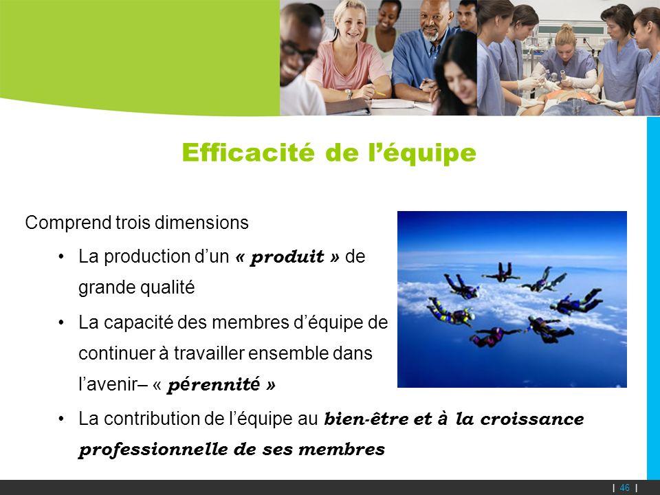 Efficacité de léquipe Comprend trois dimensions La production dun « produit » de grande qualité La capacité des membres déquipe de continuer à travail