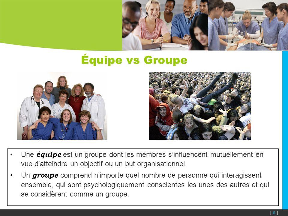 Équipe vs Groupe Une é quipe est un groupe dont les membres sinfluencent mutuellement en vue datteindre un objectif ou un but organisationnel. Un grou