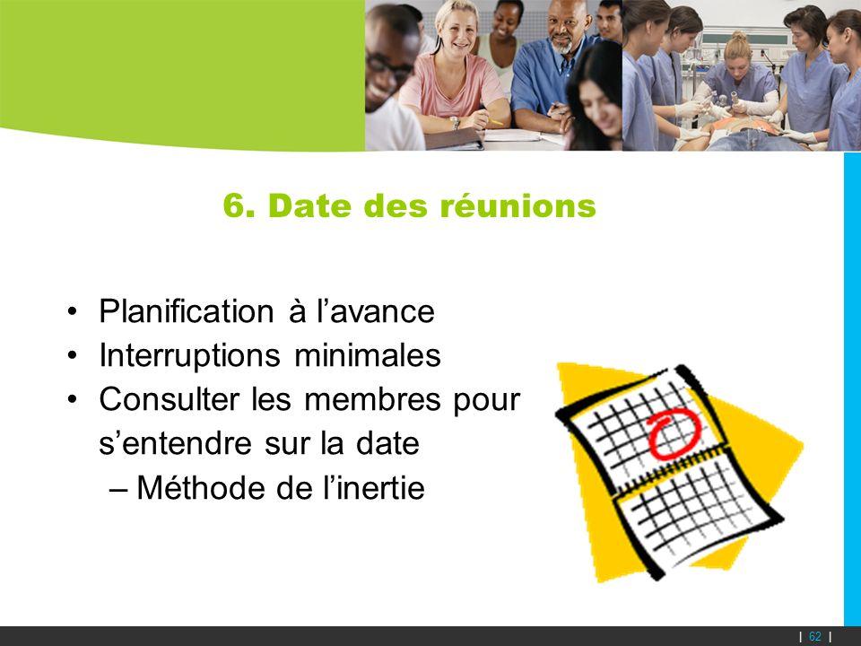 6. Date des réunions Planification à lavance Interruptions minimales Consulter les membres pour sentendre sur la date –Méthode de linertie | 62 |