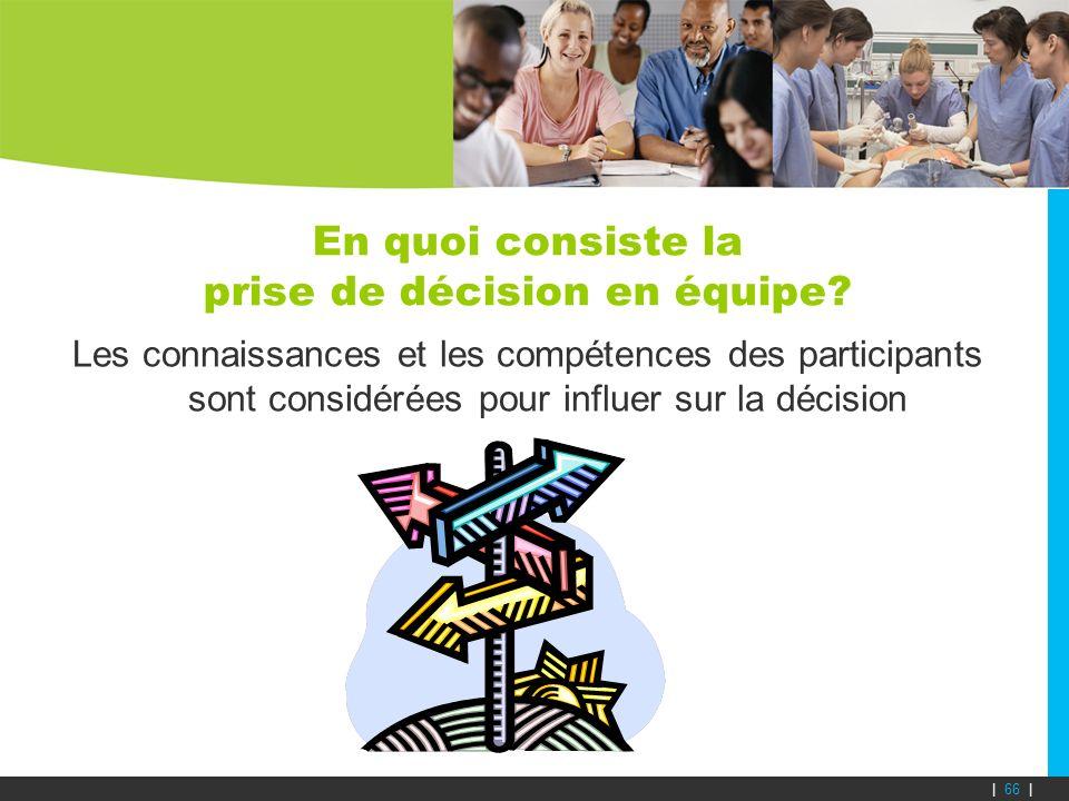 En quoi consiste la prise de décision en équipe? Les connaissances et les compétences des participants sont considérées pour influer sur la décision |