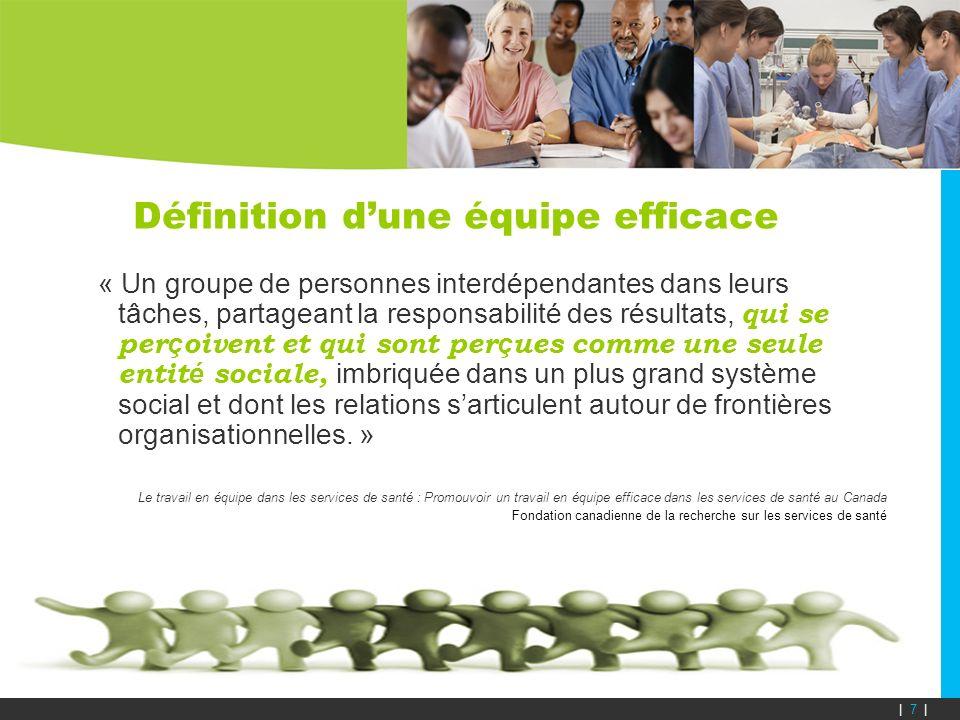 Définition dune équipe efficace « Un groupe de personnes interdépendantes dans leurs tâches, partageant la responsabilité des résultats, qui se per ç