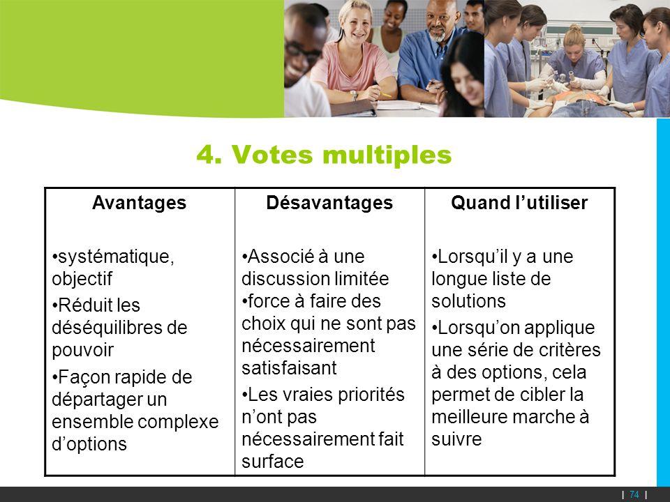4. Votes multiples Avantages systématique, objectif Réduit les déséquilibres de pouvoir Façon rapide de départager un ensemble complexe doptions Désav