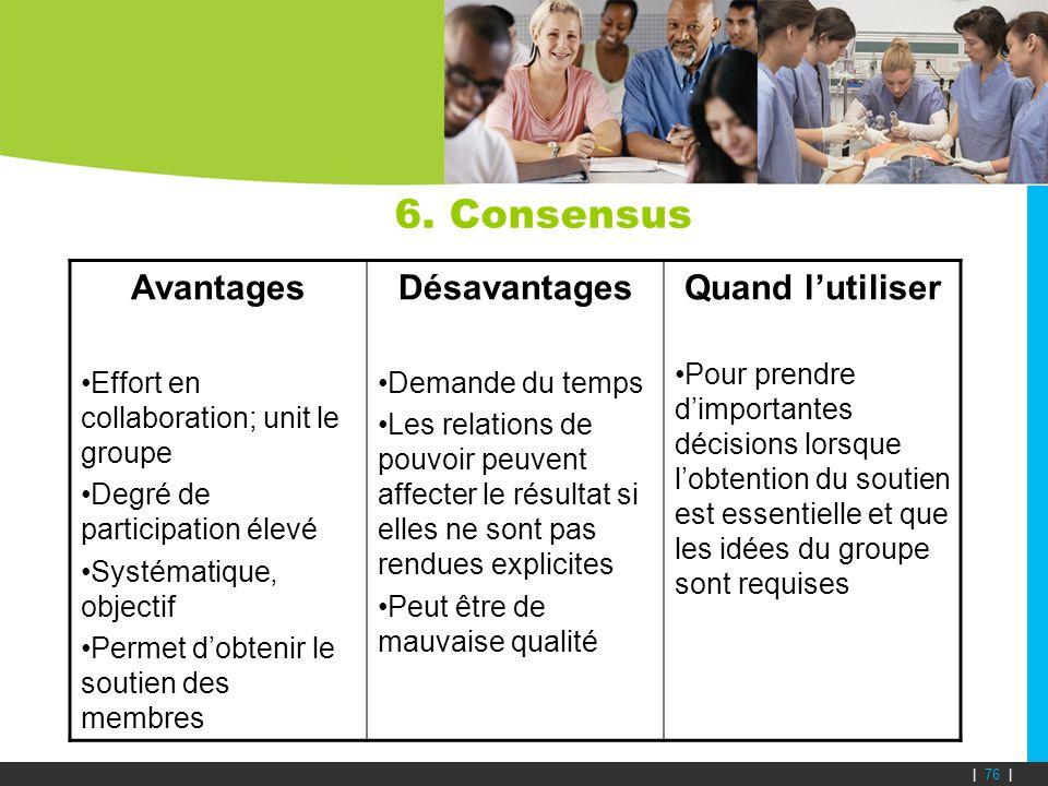 6. Consensus Avantages Effort en collaboration; unit le groupe Degré de participation élevé Systématique, objectif Permet dobtenir le soutien des memb