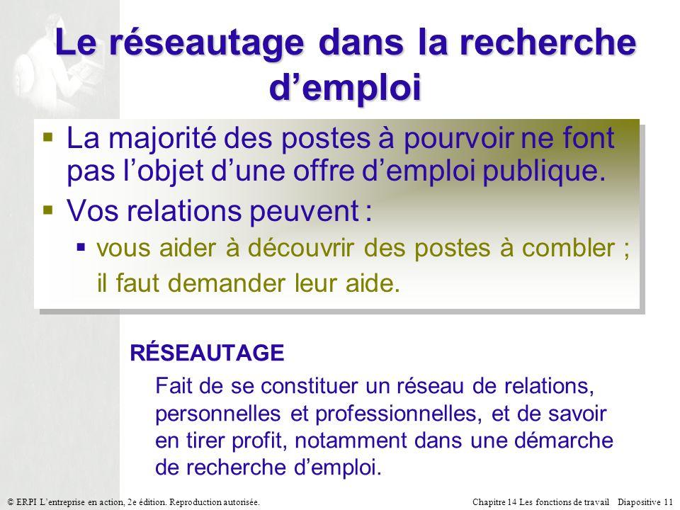 Chapitre 14 Les fonctions de travail Diapositive 11© ERPI Lentreprise en action, 2e édition.