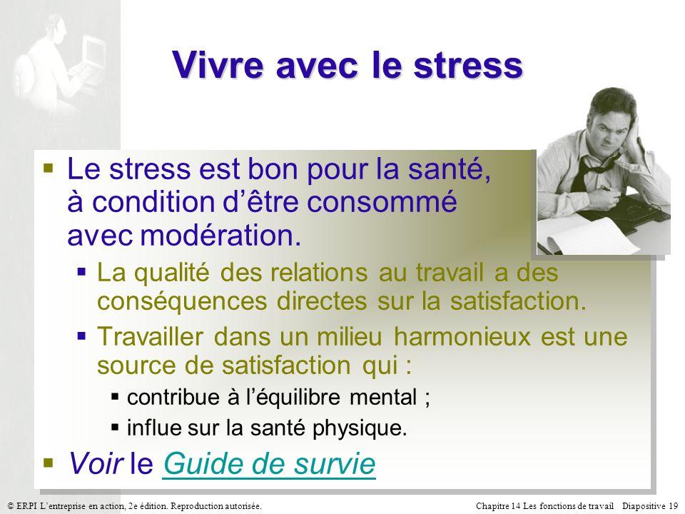 Chapitre 14 Les fonctions de travail Diapositive 19© ERPI Lentreprise en action, 2e édition.