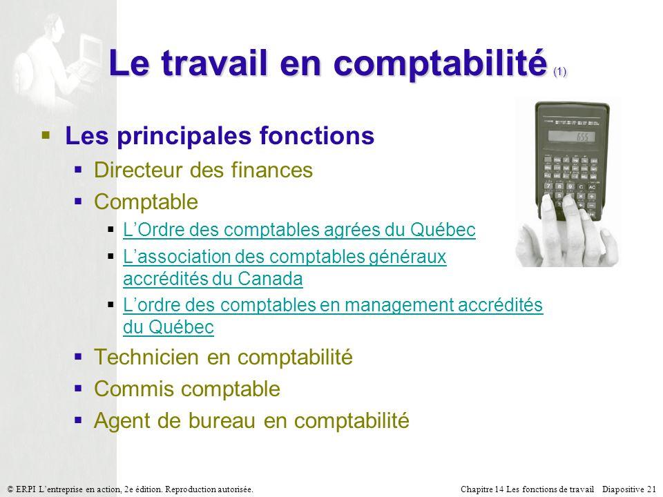 Chapitre 14 Les fonctions de travail Diapositive 21© ERPI Lentreprise en action, 2e édition.