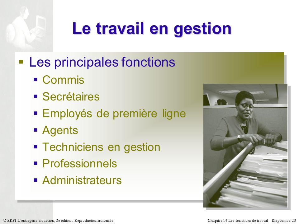 Chapitre 14 Les fonctions de travail Diapositive 23© ERPI Lentreprise en action, 2e édition.