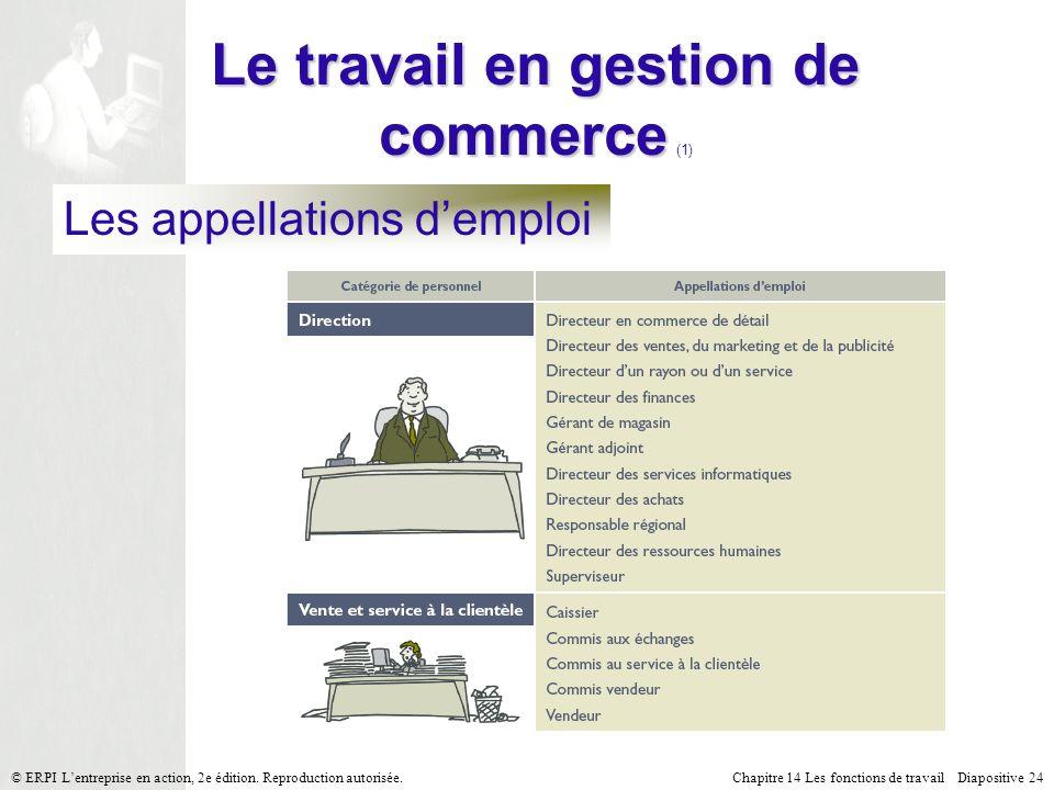 Chapitre 14 Les fonctions de travail Diapositive 24© ERPI Lentreprise en action, 2e édition.
