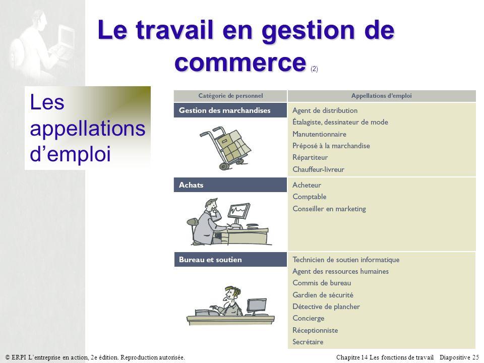 Chapitre 14 Les fonctions de travail Diapositive 25© ERPI Lentreprise en action, 2e édition.