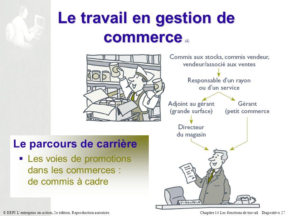 Chapitre 14 Les fonctions de travail Diapositive 27© ERPI Lentreprise en action, 2e édition.