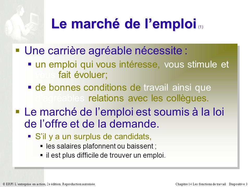 Chapitre 14 Les fonctions de travail Diapositive 14© ERPI Lentreprise en action, 2e édition.