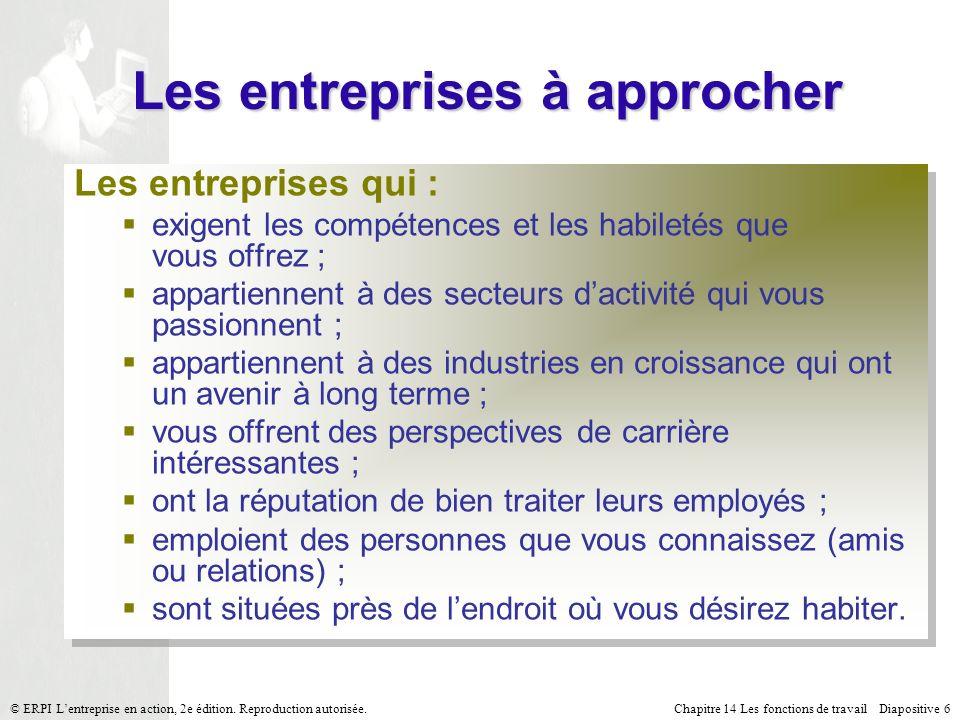 Chapitre 14 Les fonctions de travail Diapositive 7© ERPI Lentreprise en action, 2e édition.