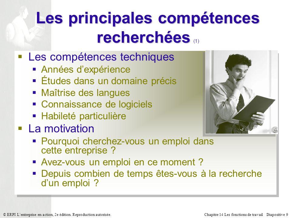 Chapitre 14 Les fonctions de travail Diapositive 9© ERPI Lentreprise en action, 2e édition.