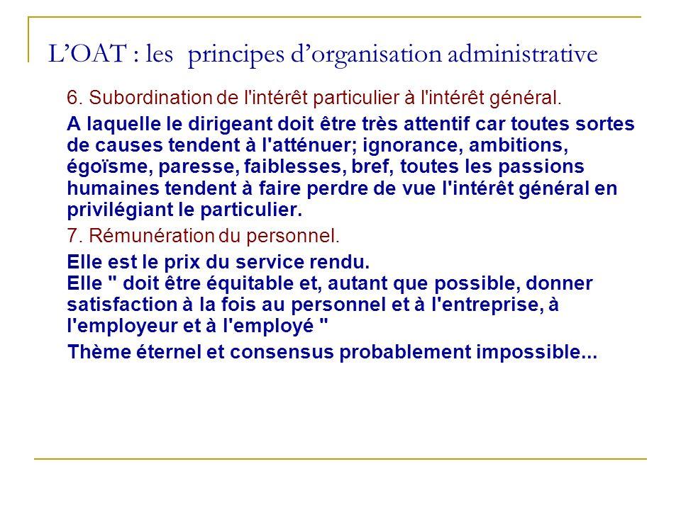 LOAT : les principes dorganisation administrative 6. Subordination de l'intérêt particulier à l'intérêt général. A laquelle le dirigeant doit être trè
