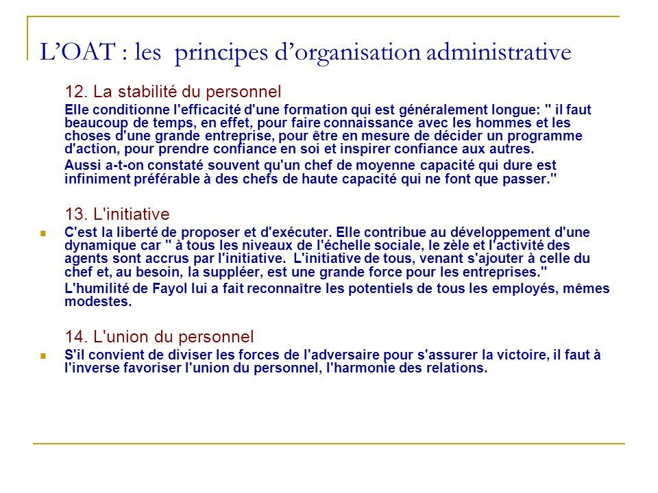 LOAT : les principes dorganisation administrative 12. La stabilité du personnel Elle conditionne l'efficacité d'une formation qui est généralement lon