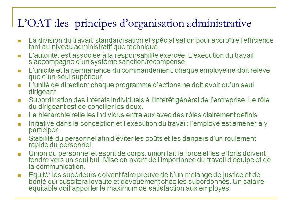 LOAT :les principes dorganisation administrative La division du travail: standardisation et spécialisation pour accroître lefficience tant au niveau a