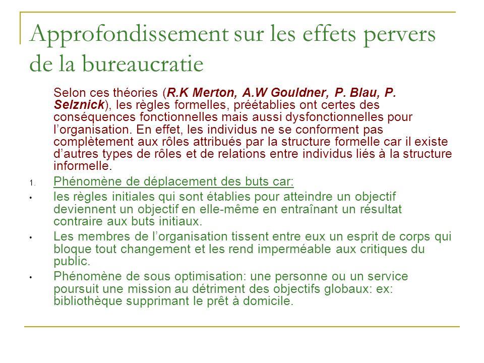Approfondissement sur les effets pervers de la bureaucratie Selon ces théories (R.K Merton, A.W Gouldner, P. Blau, P. Selznick), les règles formelles,