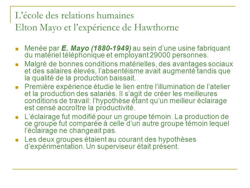 Lécole des relations humaines Elton Mayo et lexpérience de Hawthorne Menée par E. Mayo (1880-1949) au sein dune usine fabriquant du matériel téléphoni