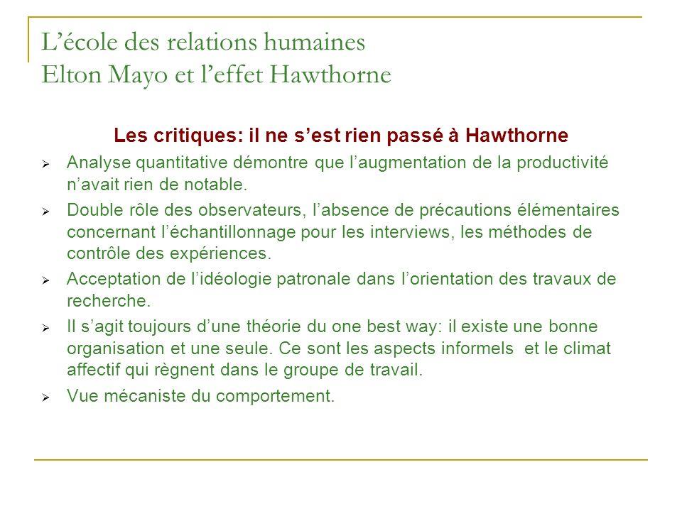 Lécole des relations humaines Elton Mayo et leffet Hawthorne Les critiques: il ne sest rien passé à Hawthorne Analyse quantitative démontre que laugme