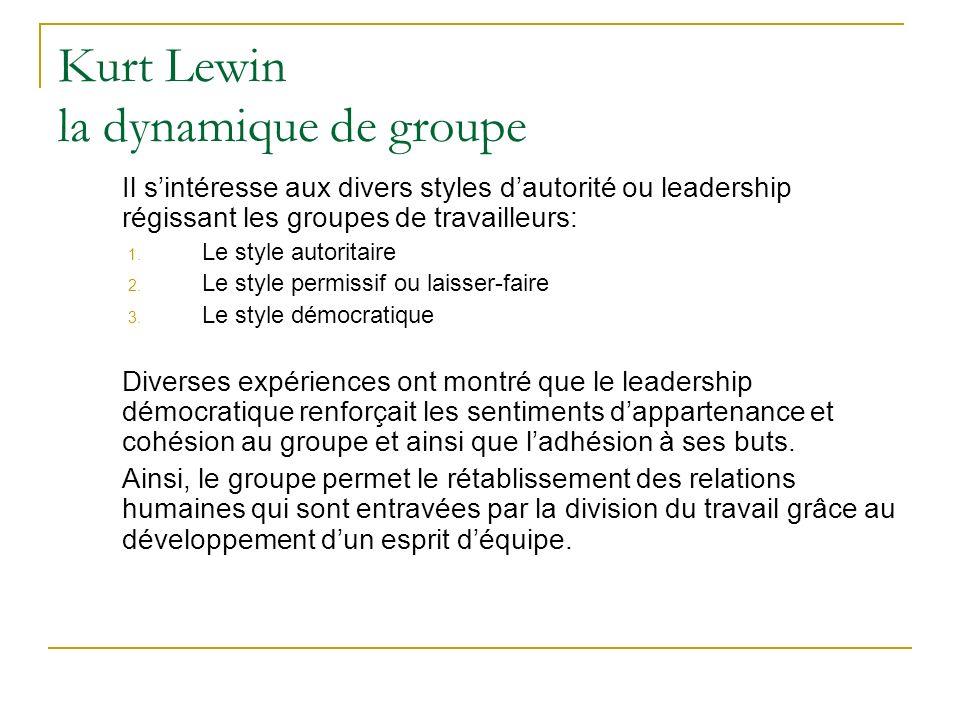 Kurt Lewin la dynamique de groupe Il sintéresse aux divers styles dautorité ou leadership régissant les groupes de travailleurs: 1. Le style autoritai