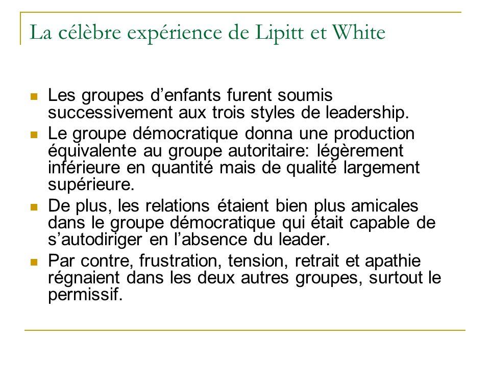 La célèbre expérience de Lipitt et White Les groupes denfants furent soumis successivement aux trois styles de leadership. Le groupe démocratique donn