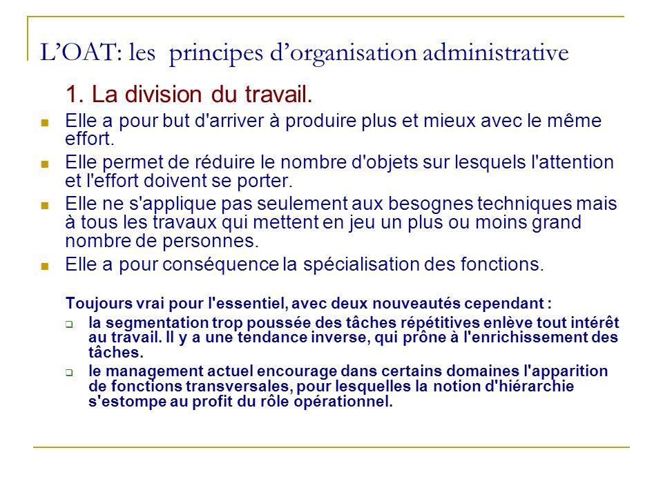 LOAT: les principes dorganisation administrative 1. La division du travail. Elle a pour but d'arriver à produire plus et mieux avec le même effort. El