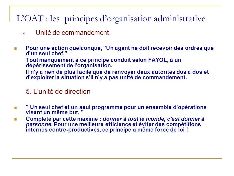 LOAT : les principes dorganisation administrative 4. Unité de commandement. Pour une action quelconque,