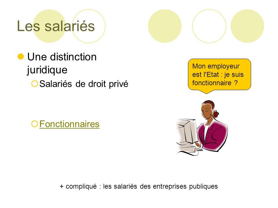Les salariés Une distinction juridique Salariés de droit privé Fonctionnaires Mon employeur est l Etat : je suis fonctionnaire .