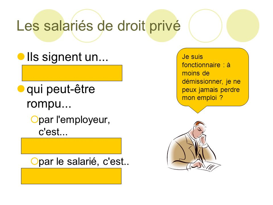 La répartition de l emploi (parts) Part des indépendants dans l emploi total= Part des fonctionnaires dans l emploi total = Part des salariés de droit privé dans l emploi total= Part des salariés dans l emploi total =