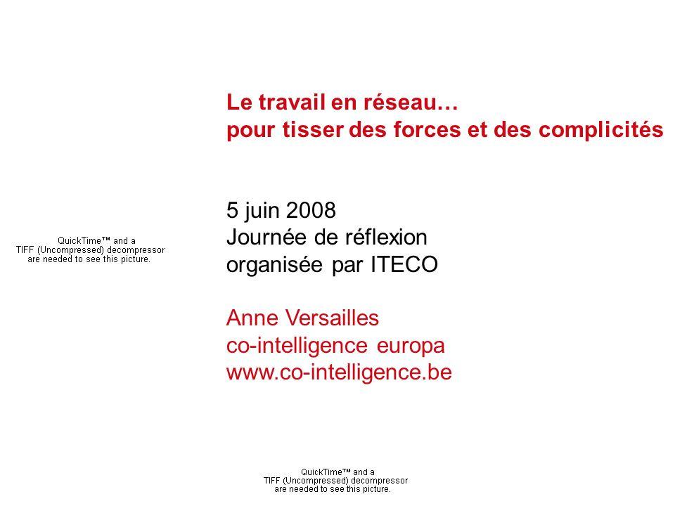 Anne Versailles - co-intelligence europa Le travail en réseau… pour tisser des forces et des complicités 5 juin 2008 Journée de réflexion organisée par ITECO Anne Versailles co-intelligence europa www.co-intelligence.be
