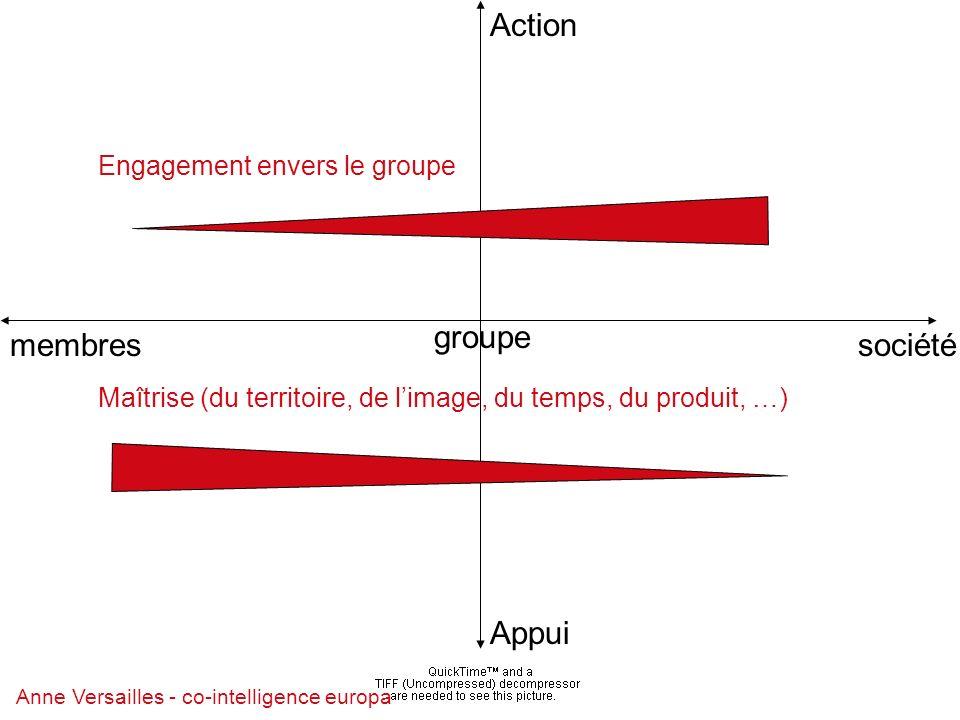 Anne Versailles - co-intelligence europa Action Appui Engagement envers le groupe Maîtrise (du territoire, de limage, du temps, du produit, …) membressociété groupe