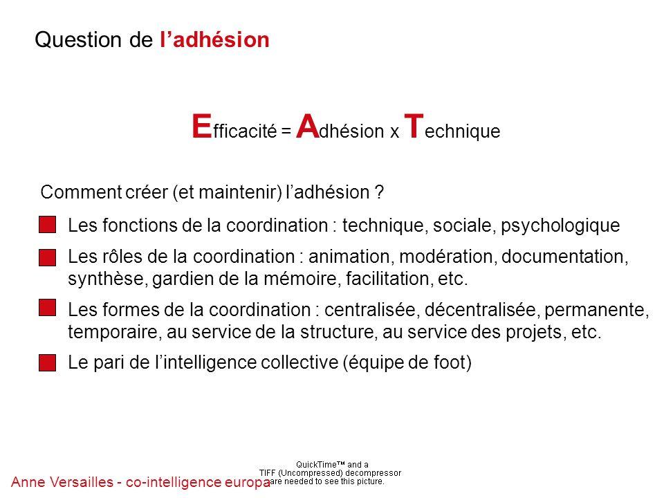 Anne Versailles - co-intelligence europa Question de ladhésion E fficacité = A dhésion x T echnique Anne Versailles - co-intelligence europa Comment créer (et maintenir) ladhésion .