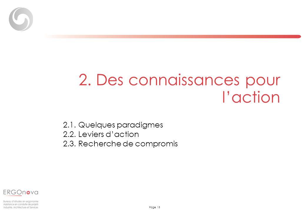 Page 15 2. Des connaissances pour laction 2.1. Quelques paradigmes 2.2. Leviers daction 2.3. Recherche de compromis
