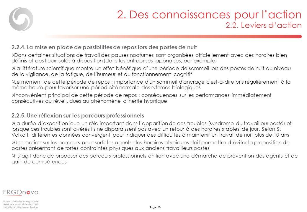 Page 18 2. Des connaissances pour laction 2.2. Leviers daction 2.2.4. La mise en place de possibilités de repos lors des postes de nuit Dans certaines