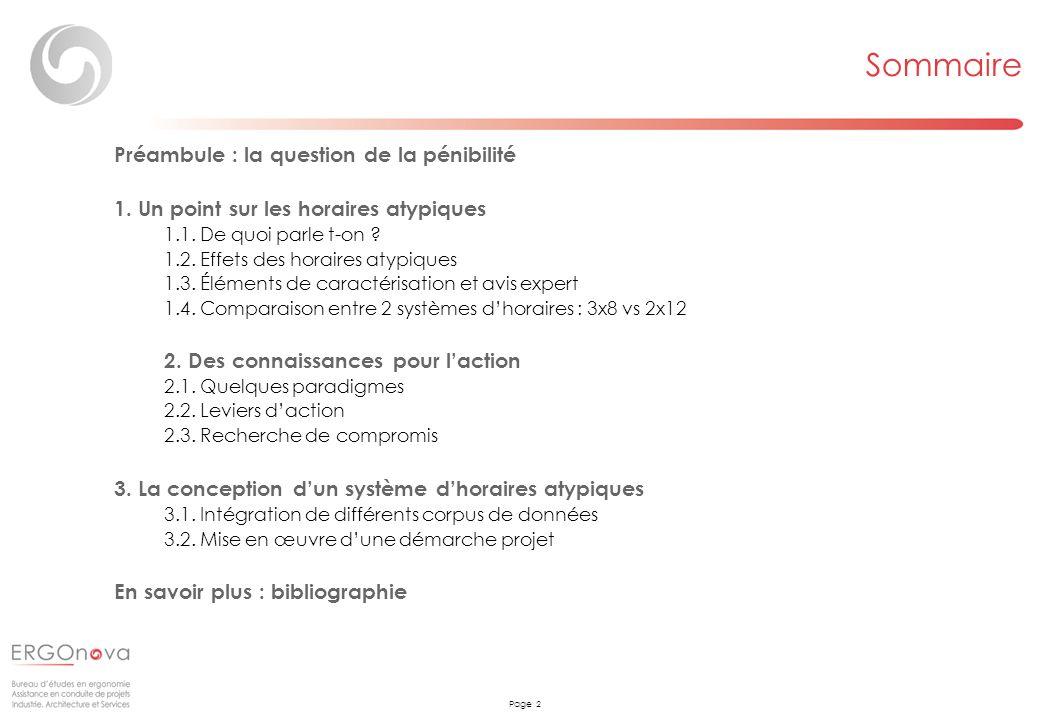 Page 2 Sommaire Préambule : la question de la pénibilité 1. Un point sur les horaires atypiques 1.1. De quoi parle t-on ? 1.2. Effets des horaires aty